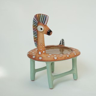 Horse chair,Plant pot plate handmade ceramic