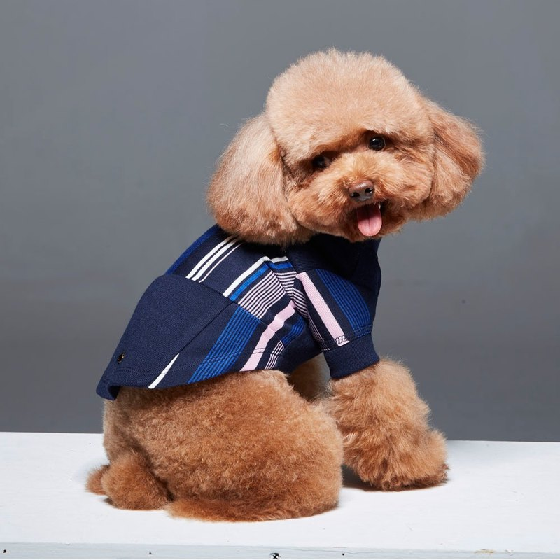 Round neck retro stitching striped pet clothes