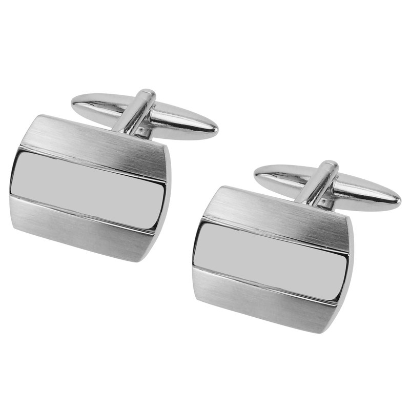 Brush Silver with Shiny Center Cufflinks