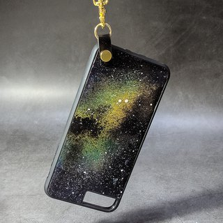 Heart of the universe - leather phone shell - lanyard version