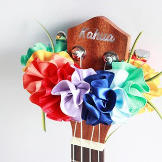 ribbon lei for ukulele,rainbowflower a, ukulele strap,ukulele accessories,hawaii