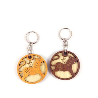 Wood Carving Key Ring - 12 Zodiac (Tiger)