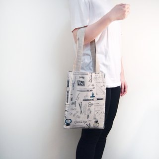 Limited Japan Print Stationery Pattern Cotton Tote Bag - Plain White