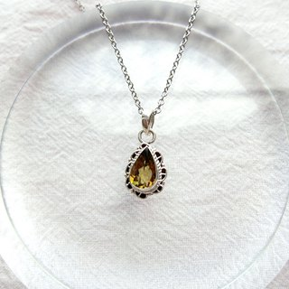 Yellow tourmaline 925 sterling silver lace necklace Nepal handmade silverware