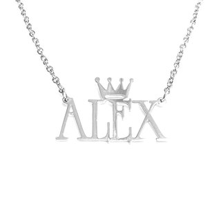 Custom name necklace with small crown