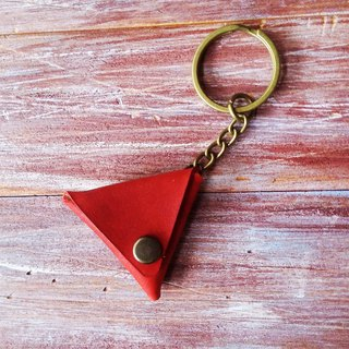 Guitar Shrapnel PICK Leather Necklace Key Ring Holster Brush Color Red Kai Handmade Leather