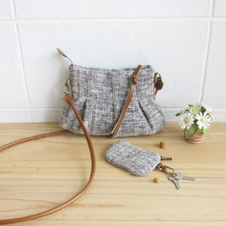 Cross-body Bags Mini Skirt XS Hand woven and Coin Purses Natural-Brown Color.