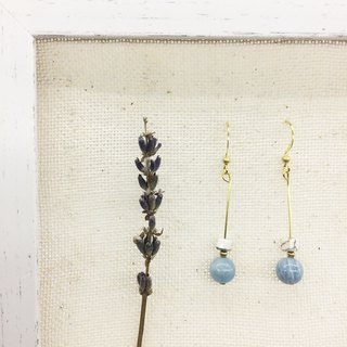 Laolin Grocery Travelin Natural Stone Brass Earrings Good Luck Series - White Turquoise / Aquamarine