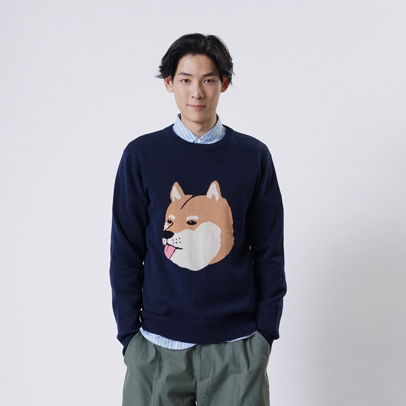 【Pjai】Graphic Knit Sweater - Navy (KN039)