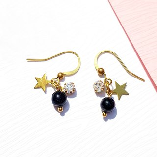 Summer Xinghai Party - Starry Wishes Blue Sandstone Brass Earrings Minimalist Geometric Tanabata Custom