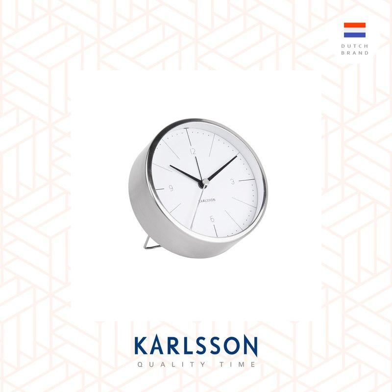 荷蘭Karlsson, Alarm clock Normann brushed steel white