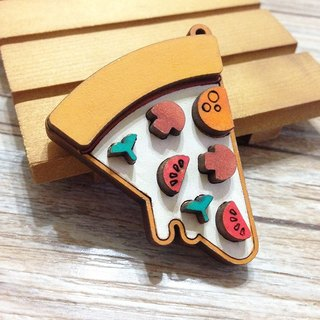 Nutritious breakfast - PIZZA wooden key ring Charm