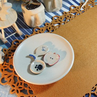 Rice white ceramic plate, plate, dish, fruit plate, dessert plate - diameter of about 15.5 cm