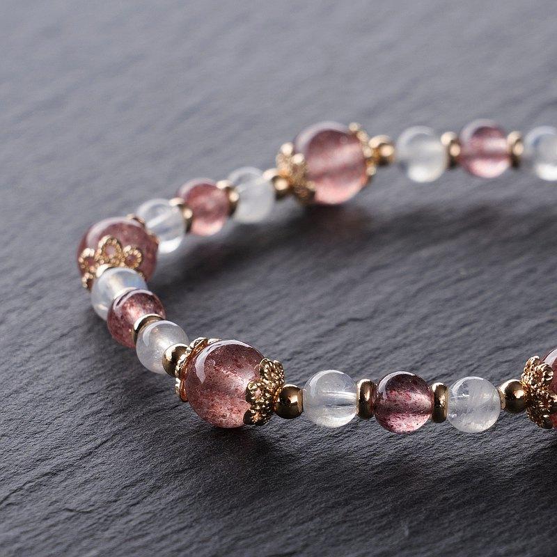 【天然石手鍊】-莓好人生- 草莓晶 月光石