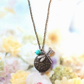Blue turquoise green bronze flower box Dragonfly necklace