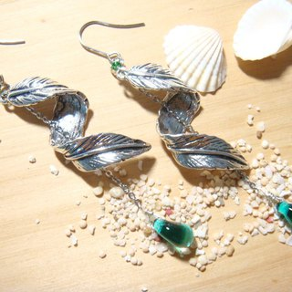 Grapefruit Forest Handwork Glass - Wing Traces - Long Earrings - (Micro Heavy, No Ear Clips)