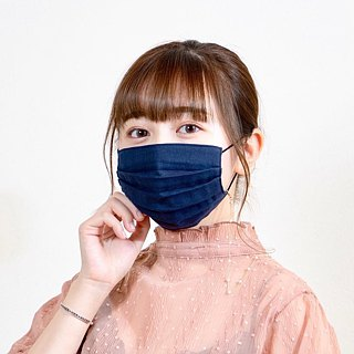 Smooth breathing handmade mask | Dark Navy | For sensitive skin | TEMARIYA