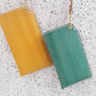 Mobile phone case (with a neck strap) │ Italian tanned leather hand dyed colored imprintable (10 words)