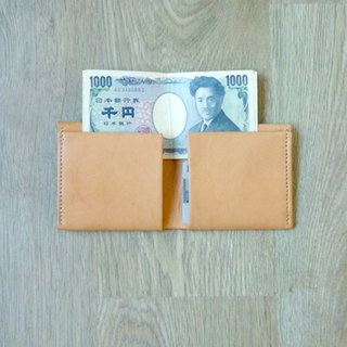 Simple style x handmade genuine leather wallet (light brown)
