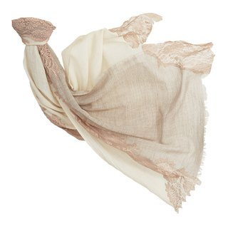[Angel Woolen] Time Secret Indian Handmade Cashmere Lace Shawl - Rice Camel