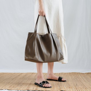 MARRY-LIGHTWEIGHT WOMEN COW LEATHER TOTE BAG- DARK GREEN