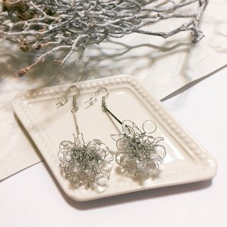 cLeAr flowers hand made transparent bouquet earrings - silver L size can be changed