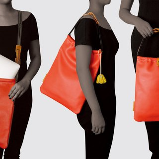 # Pure Design # vegetable tanned cowhide leather dyed simple simple hand shoulder bag / leather ki ち ゃ く (large)
