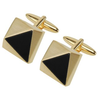 Faceted Gold Triangle Black Plastic Cufflinks