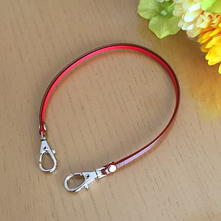 "Two-tone color Leather strap ( Red and Brown ) ""Clasps : Silver"""