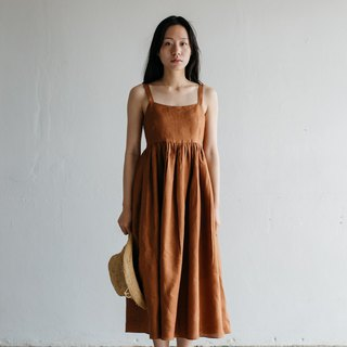 Camisole Linen Dress with Back Shell Button in Brown Sugar