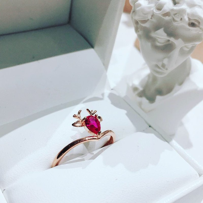 [Festival limited ring series] Fawn natural ruby ​​rose gold ring