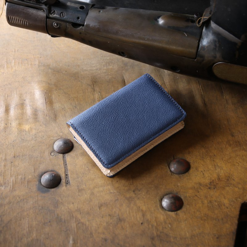 Japanese Manufactured Cowhide Name One Piece Name Box Blue Blue Weinheimer made in JAPAN handmade leather card case