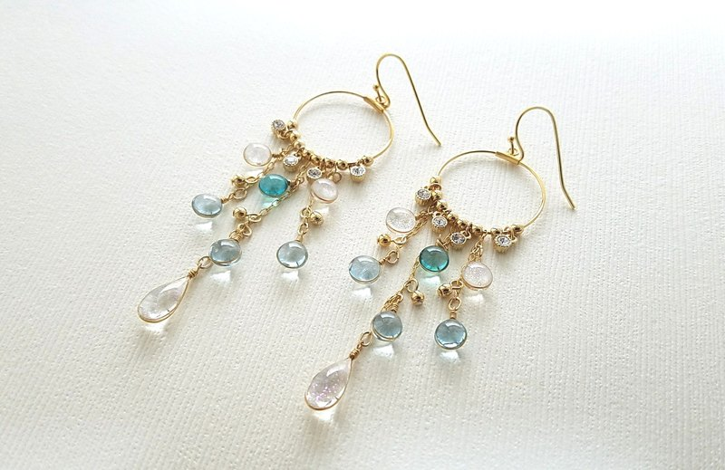 blue chandelier pierced or clip-on earrings