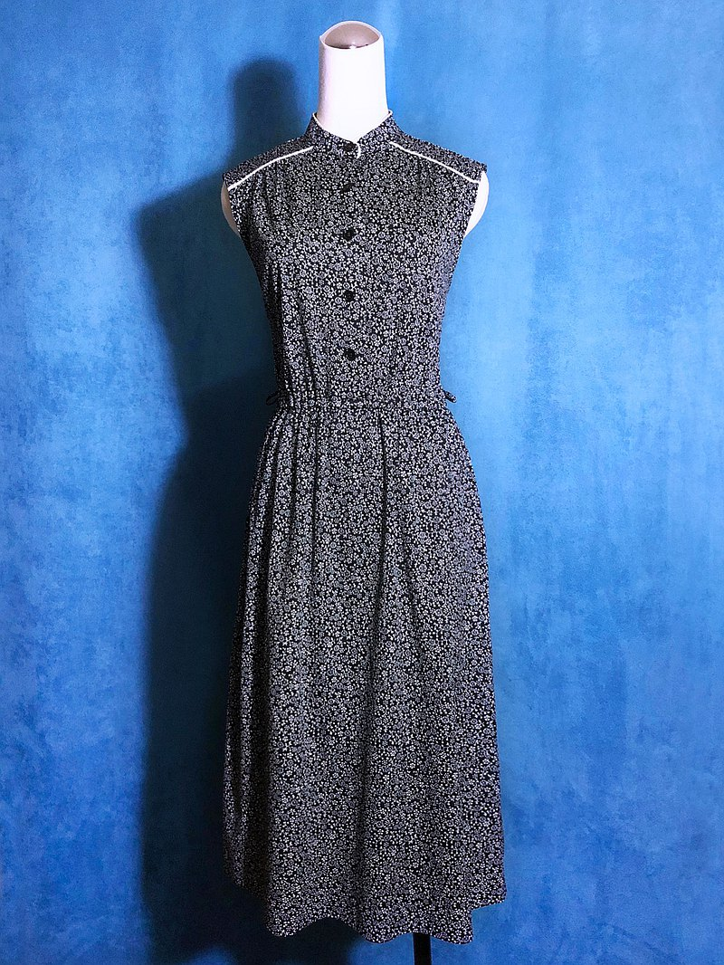 Small stand-up collar flower sleeveless vintage dress / bring back VINTAGE abroad