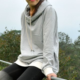 Funnel Neck Hoodie With Striped - Grey