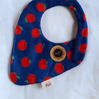 Smiling Red Apple - Blue Bottom - Eight Layers 100% Cotton Double Sided Strawberry Bib. Saliva Towel