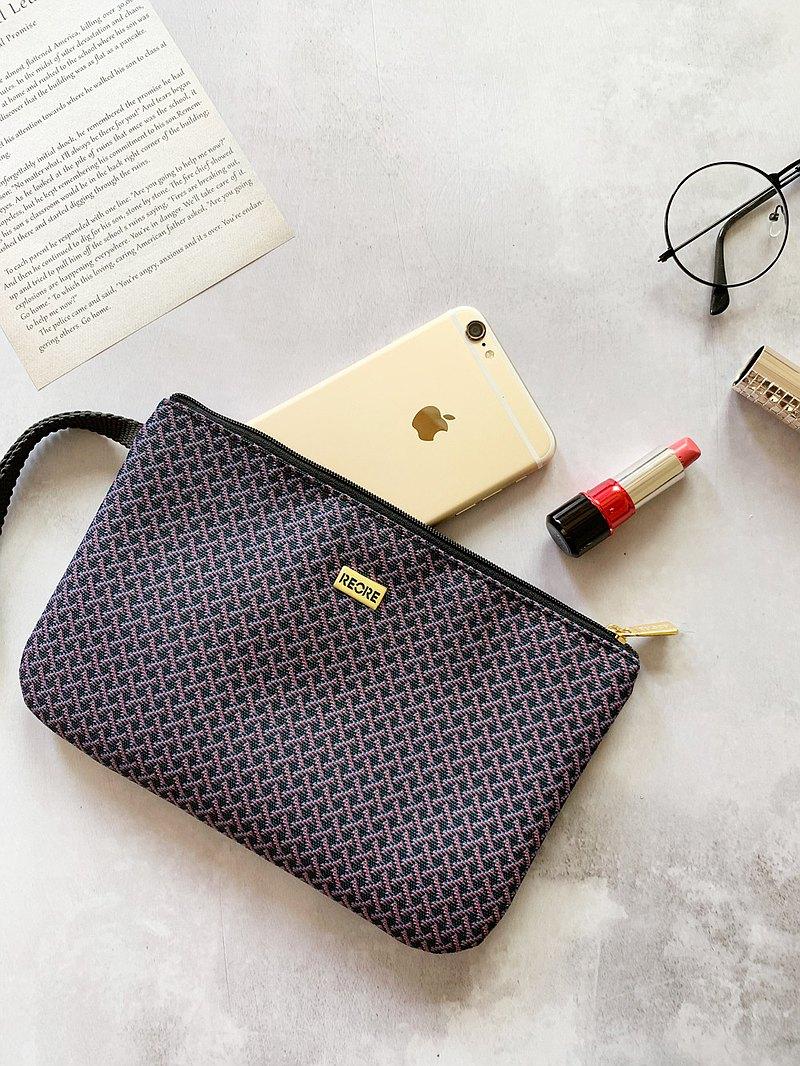 口罩收納包 護照夾 /  防潑水 平織緹花 小編織黑深紫