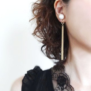 One long grain pearl Earrings with long chain to remove