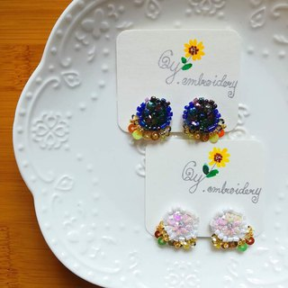 Qy.embroidery vintage beads hand-embroidered earrings earrings ear clips