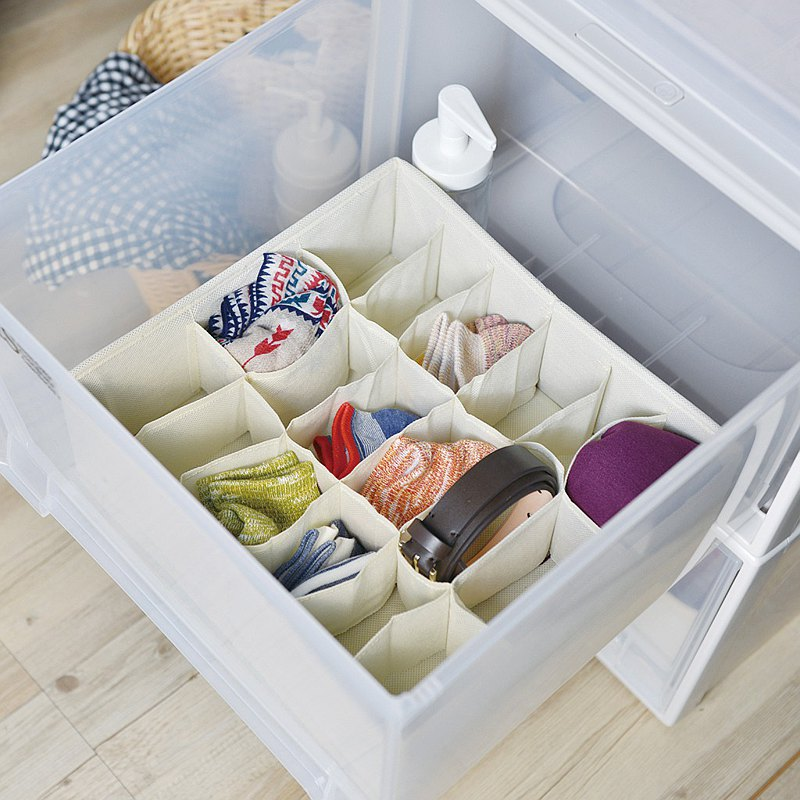 Japan Frosty Mountain Wardrobe Drawer with 18 Small Assortment Storage Boxes-Face Width 30cm-2 In