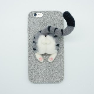 Wool felt tabby cat butt egg mobile phone shell tiger pattern cat butt mobile phone shell Iphone 6 7 8 Plus