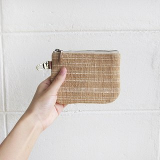 Coin Purses with Key Chain Botanical dyed Cotton Natural-Tan Color