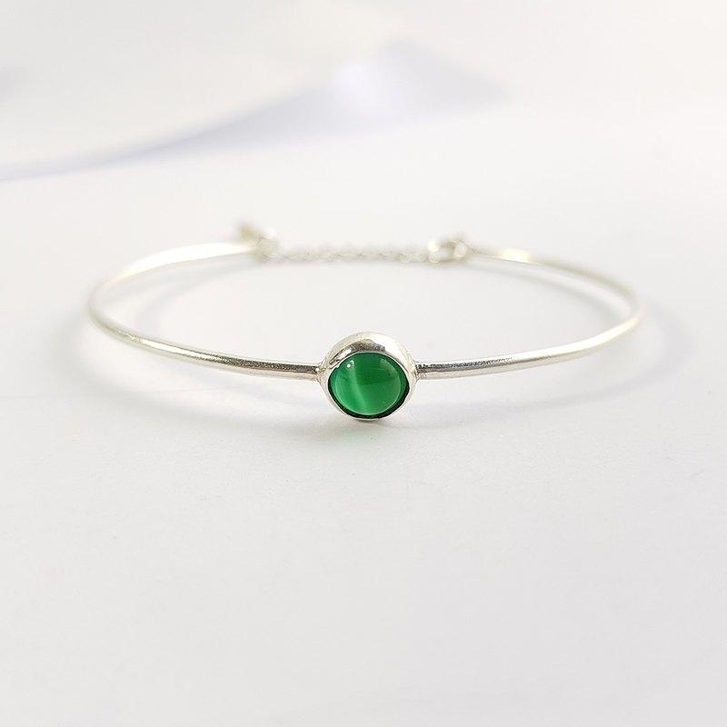 原點-勇氣綠瑪瑙999純銀手環 5月誕生幸運石 / Green Agate