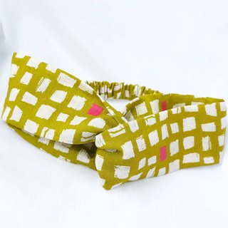 Mustard green mosaic pattern handmade hair band