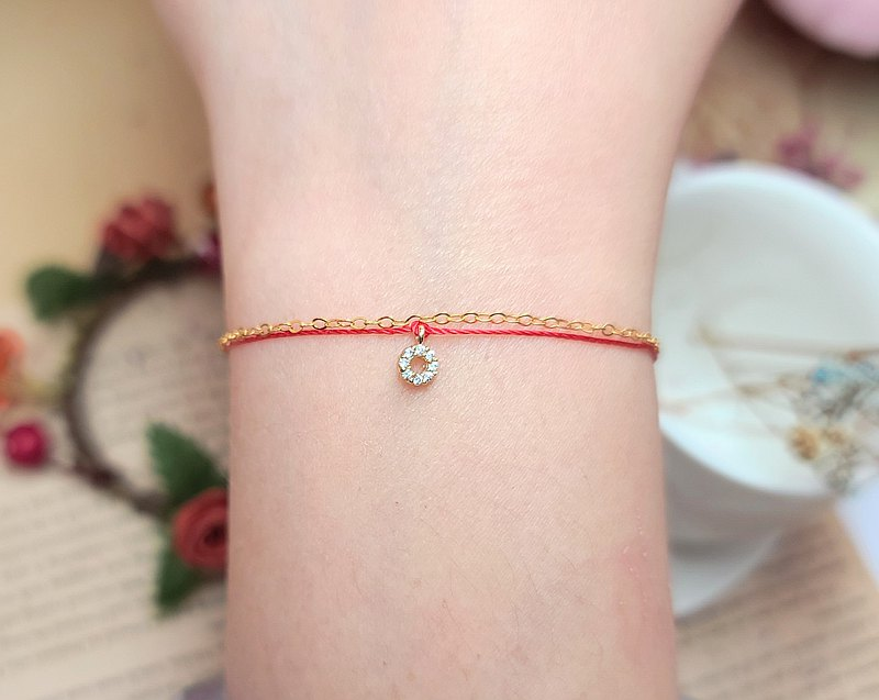 Chain rope ultra-small gold-plated ring diamond donuts white diamonds red wire bracelet mini moon old girlfriends