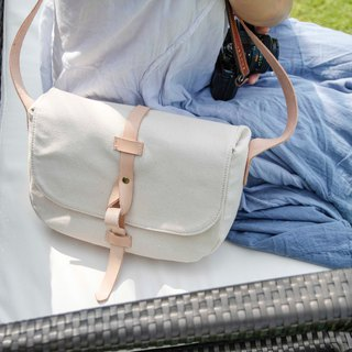 Minimalist Camera Shoulder bags in water resistant canvas and leather White
