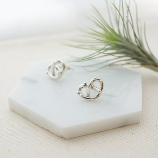 Pretzel Cookie Pure Brass Earrings