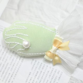 Handmade embroidery hand brooch mint green