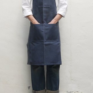 Hobert waxed canvas apron oil wax Buppee shoulder strap Apron - Indigo