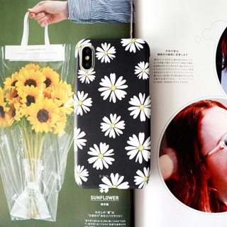 Black small night daisy phone case
